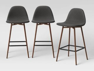 Set of 3 Copley Upholstered Counter Height Barstools Dark Gray   Project 62