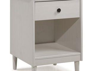 Walker Edison 1 Drawer Solid Wood Nightstand in White