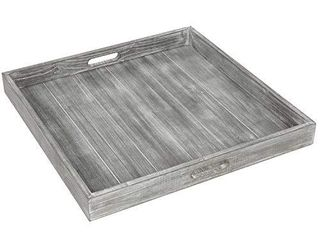 MyGift 19 inch large Square Rustic Whitewashed Gray Wood Ottoman Tray with Cutout Handles