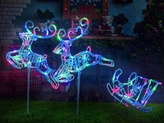 Pre lit light Up Christmas Double Reindeer and Sleig lawn Ornament