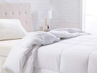 Amazon Basics Down Alternative Bed Comforter   King  White  All Season