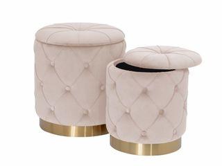 Best Quality Furniture Storage Ottoman Beige  amp  Gold