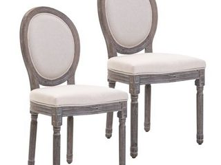 HOMCOM Armless French Chic Dining Chair with Curved Backrest and linen Upholstery  Set of 2  Ivory  Retail 194 99