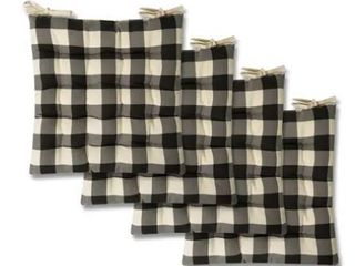 Buffalo Check Tufted Chair Pads  Set of 4  16x16  Black