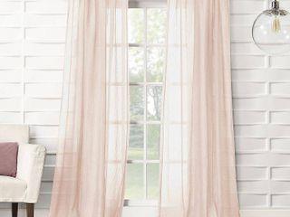 84x50 Avril Crushed Textured Semi Sheer Rod Pocket Curtain Panel Blush   No  918  2 Panels