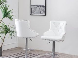 Best Quality Furniture Velvet  Faux leather Barstools with Nailhead Trim and Button Tufted Backside  Set of 2  Retail 318 49