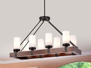 Daniela Antique Wood Chandelier with Frosted Glass Globes  Retail 224 99