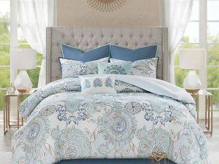 8pc lian Cotton Printed Reversible Comforter King Set Blue