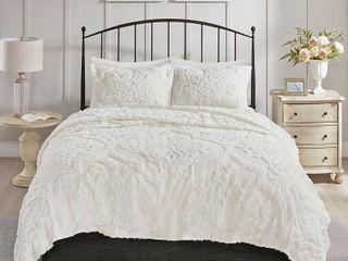 3pc Full Queen Eugenia Cotton Damask Coverlet Set White