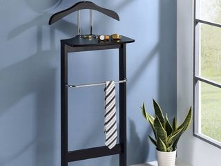 Kings Brand Furniture   Millett Wood Suit Valet Stand Clothes Rack  Black chrome Retail  386 00