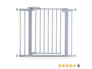 BABElIO Easy Install Extra Wide Pressure Mounted Metal Baby Gate  No Drilling  No Tools Required  26 40 Inch with Wall Protectors and Extenders  Ideal for Narrow or Wide Area  Grey