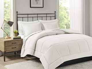 Madison Park Sarasota All Season Microcell Down Alternative Box Quilted Comforter Mini Set  Full Queen  Ivory
