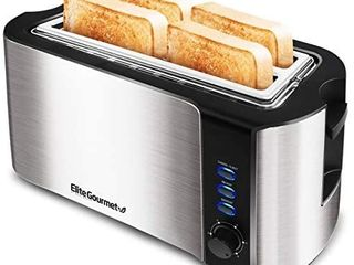 Elite Gourmet ECT 3100 Maxi Matic 4 Slice long Toaster with Extra Wide Slot for Bread  Croissants  and Buns  Reheat  Cancel and Defrost  6 Adjustable Toast Settings  Stainless Steel