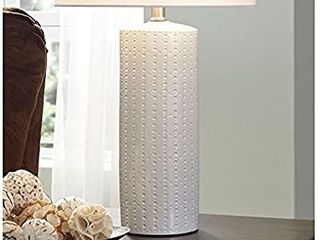 Signature Design by Ashley Steuben White 25  Ceramic Table lamp