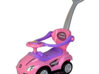 Chromewheels Kids 3 In 1 Ride On With Push Bar   Pink