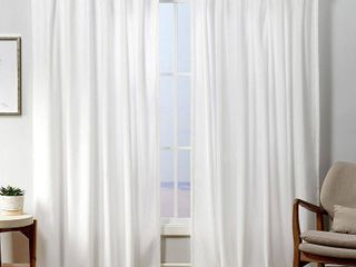 84 x54  Velvet Back Tab light Filtering Window Curtain Panels White   Exclusive Home