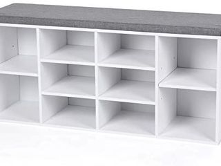 VASAGlE Cubbie Shoe Cabinet Storage Bench with Cushion  Adjustable Shelves  Holds up to 440lb  White UlHS10WT