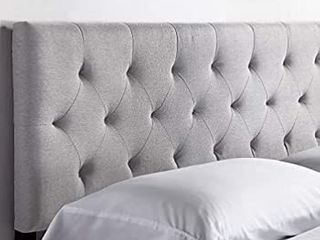 lUCID Mid Rise Upholstered Headboard   Adjustable Height from 34a to 46a  Queen  Stone