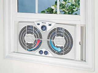 Holmes Dual 8  Blade Twin Window Fan with Manual Controls  3 Speed Settings  White