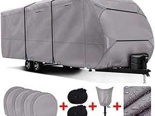RVMasking Heavy Duty 300D Top Windproof Travel Trailer Cover for RV Camper Motorhome with 4 Tire Covers  Tongue Jack Cover  31 7 34 ft