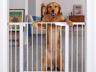 Cumbor 46a Auto Close Safety Baby Gate  Extra Tall and Wide Child Gate  Easy Walk Thru Durability Dog Gate for The House  Stairs  Doorways  Includes 2 75 Inch and 8 25 Inch Extension