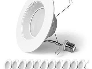 Sunlake lighting 12 Pack 5 6 Inch lED Recessed Downlight  Baffle Trim  Dimmable  4000K Cool White  12W 75W  1080 lM  Wet Rated Waterproof  Retrofit Kit  Ul   Energy Star