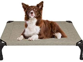 Veehoo Cooling Elevated Dog Bed  Portable Raised Pet Cot with Washable   Breathable Mesh  No Slip Rubber Feet for Indoor   Outdoor Use  Medium  Beige Coffee