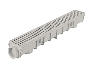 NDS Pro Series Drain Kit 5 1 2 in  X 39 3 8 in  Deep Profile Channel  Gray Plastic Grates  End Caps Outlet  5