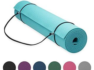 Gaiam Essentials Premium Yoga Mat with Yoga Mat Carrier Sling  Teal  72 l x 24 W x 1 4 Inch Thick  05 64061