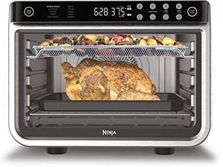 Ninja DT201 Foodi 10 in 1 Xl Pro Air Fry Digital Countertop Convection Toaster Oven with Dehydrate and Reheat  1800 Watts  Stainless Steel Finish