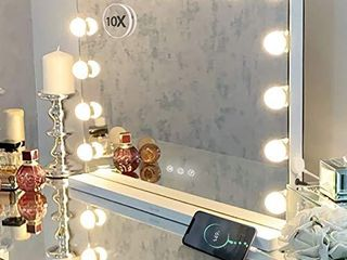 Hansong Vanity Mirror with lights Makeup Hollywood lighted Up Mirror with 10X Magnification and USB Charging Port 15 Dimmable lED lights for Dressing Room Bedroom Tabletop or Wall Mounted
