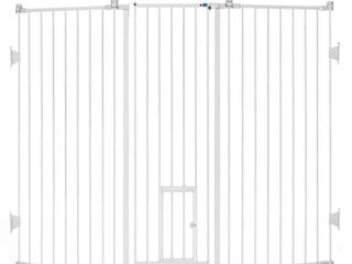 Carlson Walk Thru Metal Dog Gate  White  76 l x 2 W x 38 H