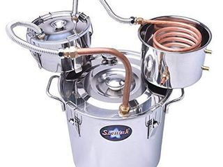 Suteck 5 Gal Moonshine Still Spirits Kit 18l Water Alcohol Distiller Copper Tube Boiler Home Brewing Kit with Thumper Keg Stainless Steel