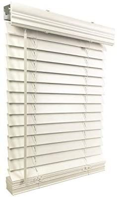 US Window And Floor 2  Faux Wood 58 125  W x 48  H  Inside Mount Cordless Blinds  58 125 x 48  White