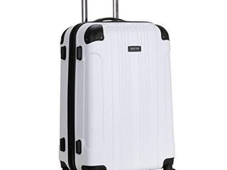 Kenneth Cole Reaction Out Of Bounds 24 inch Check Size lightweight Durable Hardshell 4 Wheel Spinner Upright luggage  White