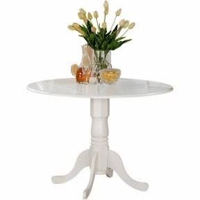 JUST THE PEDESTAl  East West Furniture Dublin Round Pedestal Drop leaf Dining Table