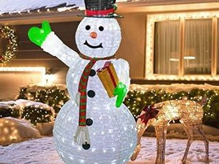 Hourleey Christmas lighted Pop Up Snowman Decoration  6FT 200 lED Collapsible Easily Metal Stand Easy Assembly Reusable for Holiday Xmas Indoor Outdoor Decor