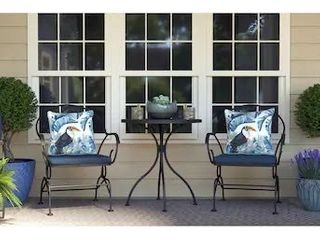 Style Selections WEDDINGTON 3 Piece Brown Frame Bistro Patio Set with Blue Cushions Bistro