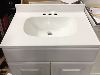 24 in White Single Sink Bathroom Vanity with White Cultured Marble Top