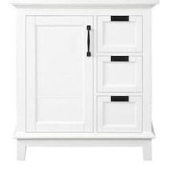 allen   roth 30 in White Undermount Bathroom Vanity with White Engineered   vanity only sink not included