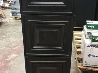 Brown 3 Drawer Cabinet   34 H x 12 W x 21 5 D