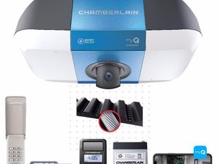 Chamberlain 1 1 4 HP DC Belt Drive Wi Fi MAX lift Power with Integrated Camera Garage Door Opener with Battery Backup