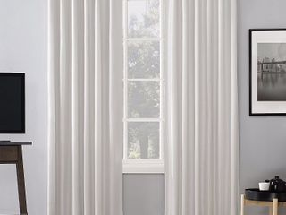 84 x50  Evelina Faux Dupioni Silk Thermal Extreme 100  Blackout Back Tab Curtain Panel Pearl   Sun Zero