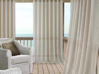 Elrene Carmen Sheer 114  x 84  Extra Wide Indoor Outdoor Grommet Curtain Panel with Tieback