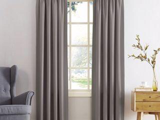 Set of 2 95 x54  Ren Room Darkening Rod Pocket Curtain Panel Gray   Sun Zero