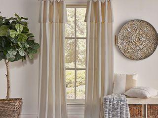 84 x50  Drop Cloth light Filtering Curtain Panel linen   Mercantile