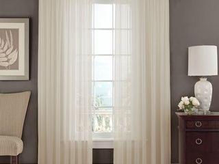 Set of 2 Sheer Voile Window Curtain Panels  84  long  Beige