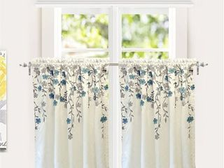 Porch   Den Oneida Floral Embroidered Faux Silk Kitchen Tier Pair