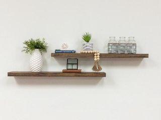 True Floating 5 5 in x 36 in x 2 in Dark Walnut Pine Floating Decorative Wall Shelf with Brackets  Set of 2