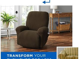 Mainstays Pixel 4 Piece Stretch Recliner Chair Slipcover  Chocolate